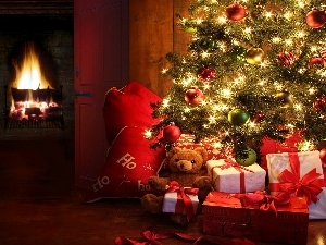christmas tree, Beauty, burner chimney, gifts