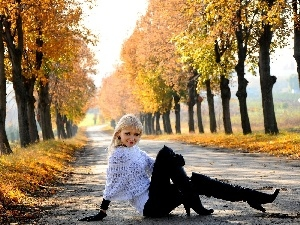 autumn, viewes, trees, young, Leaf, girl, Way