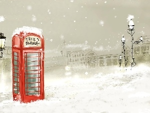 English, phone, winter, booth