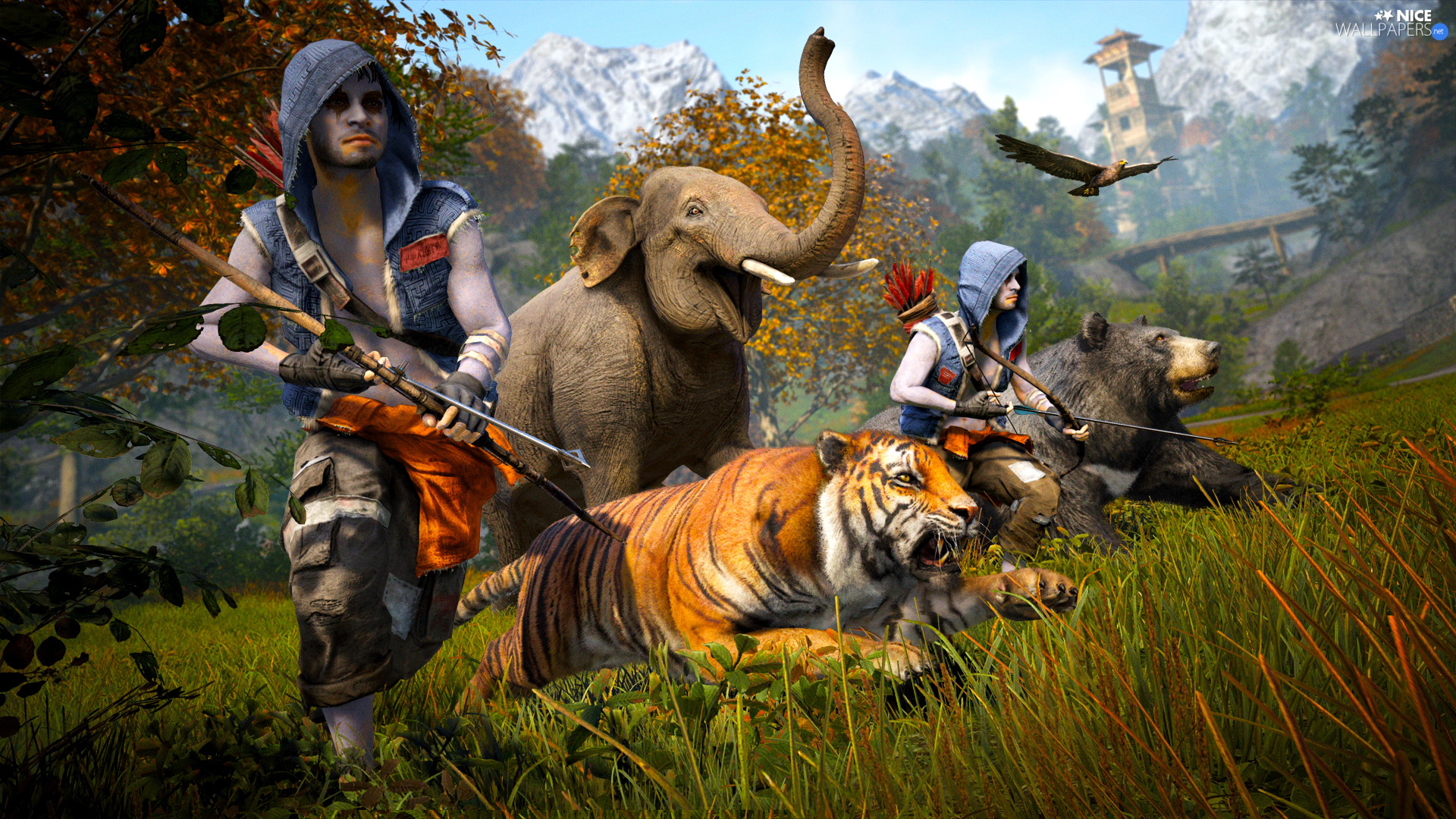 animals, Elephant, Characters, tiger, armed, Far Cry 4, game, Bear