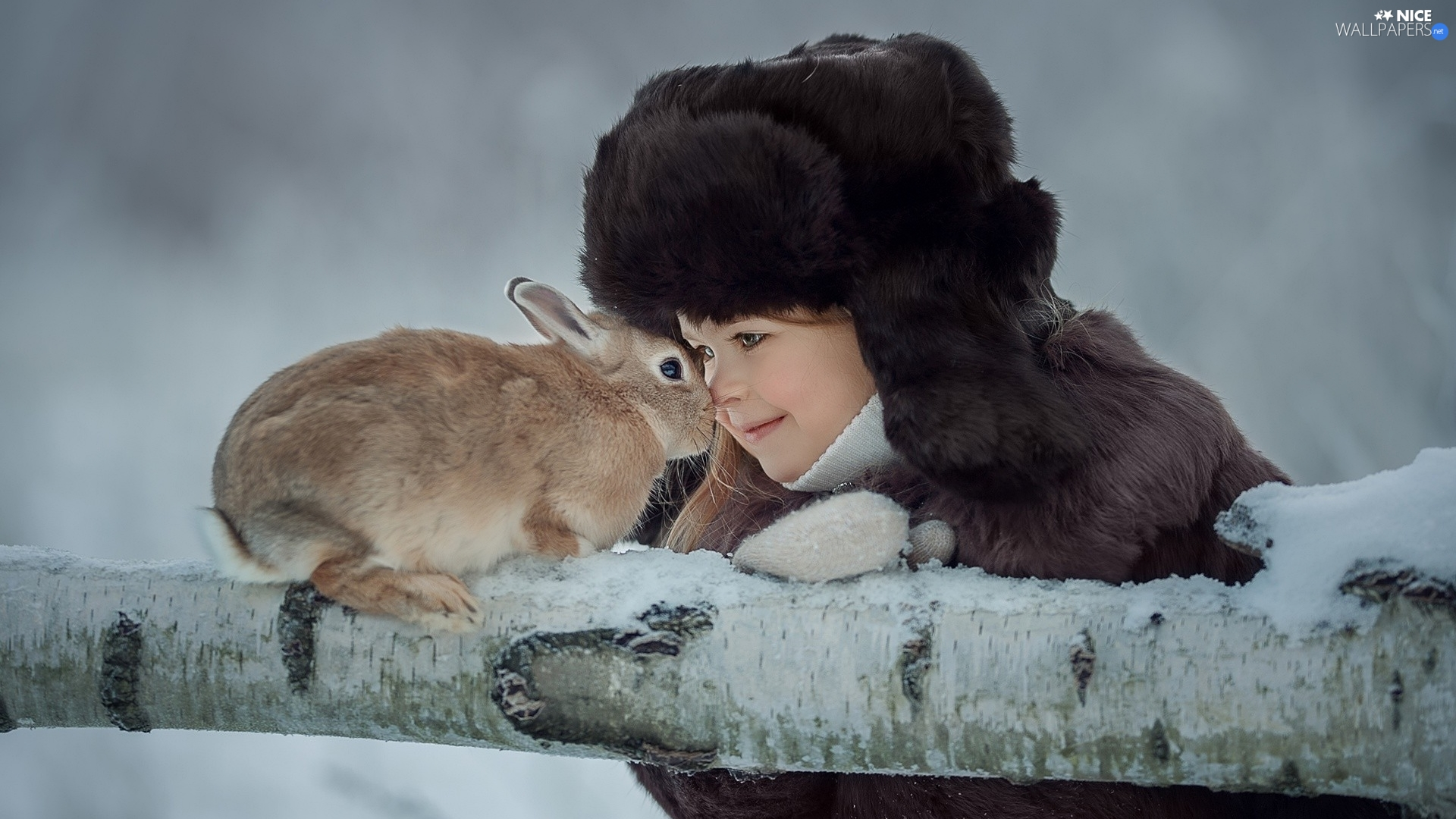 Rabbit, branch, Hat, Fur, girl