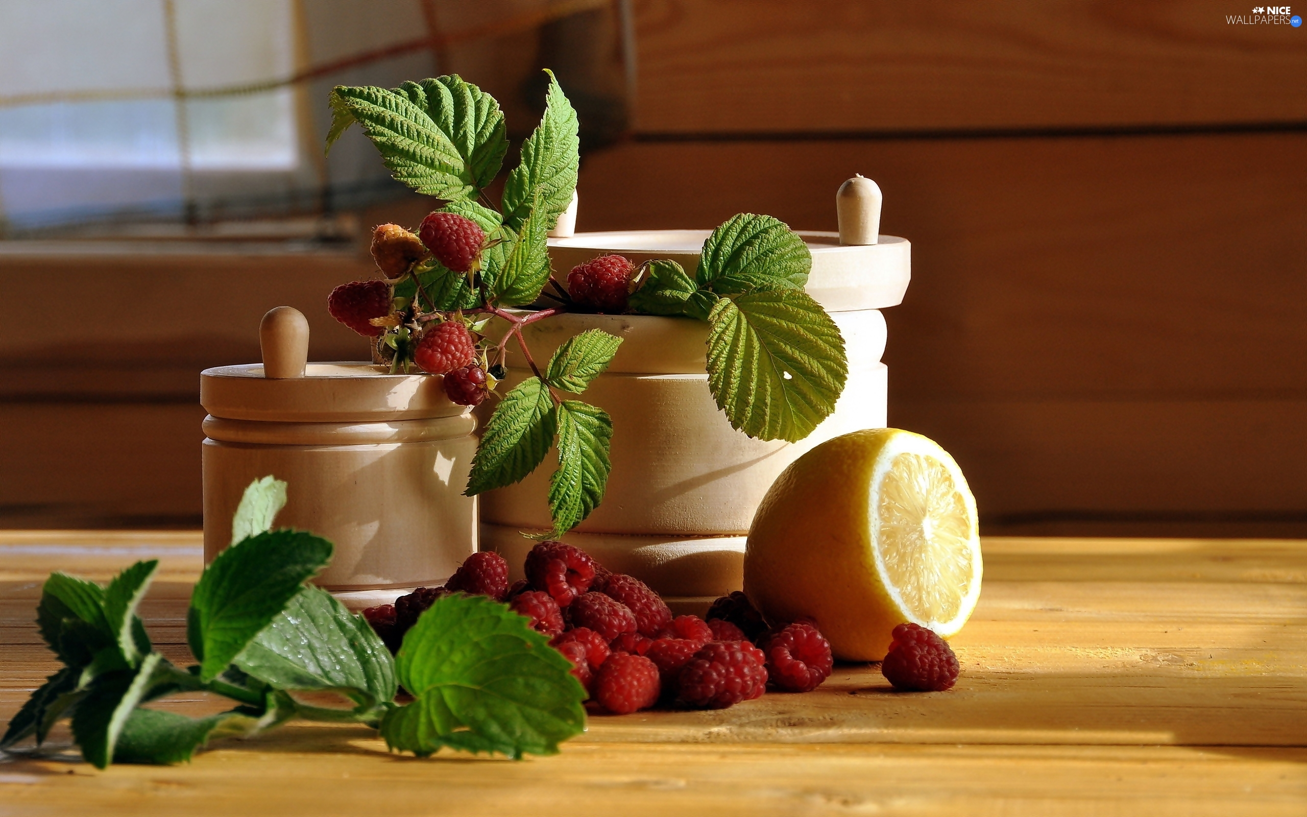 Lemon, twig, Containers, composition, wood, raspberries