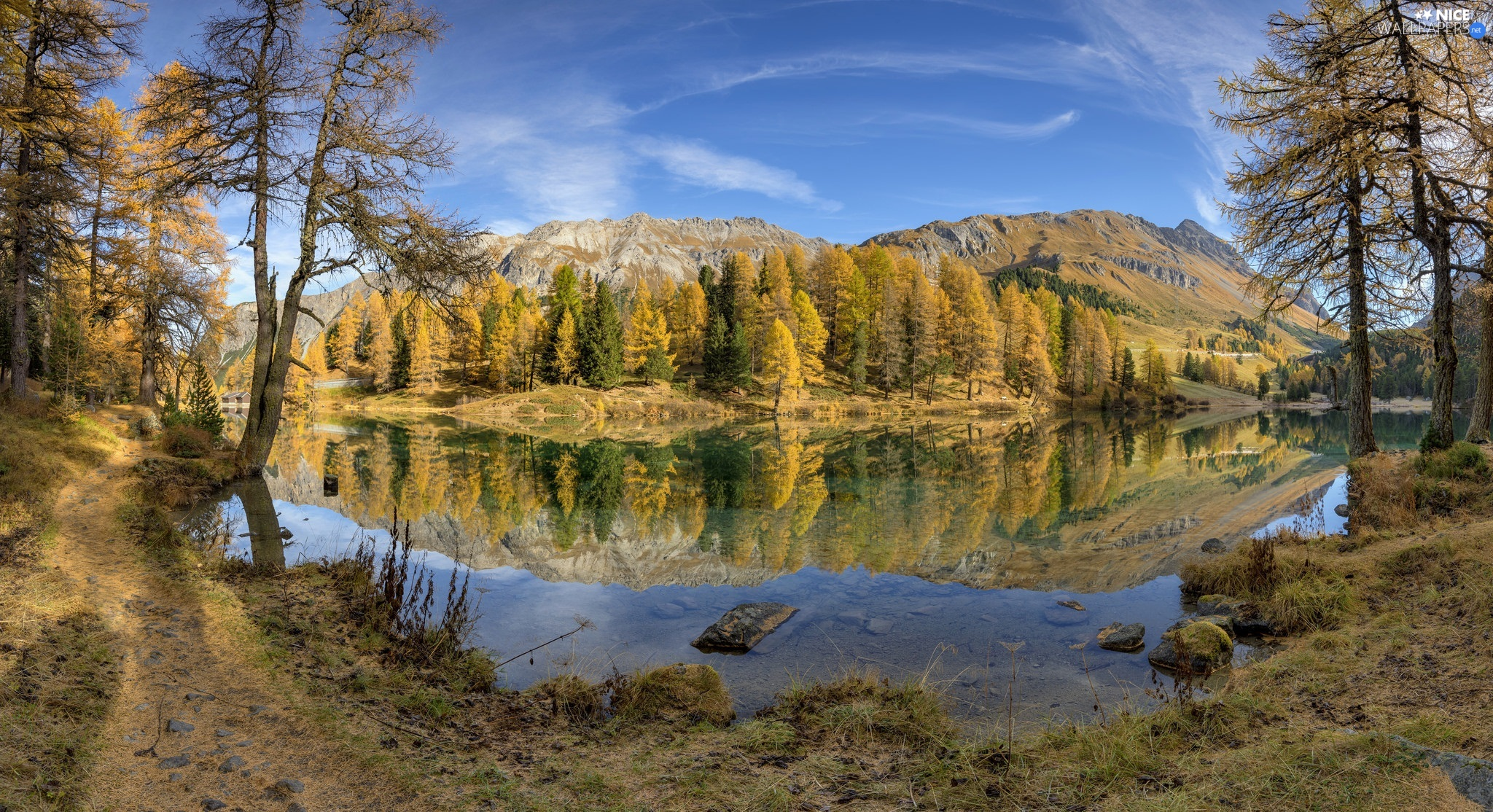 lake, autumn, viewes, forest, trees, Mountains