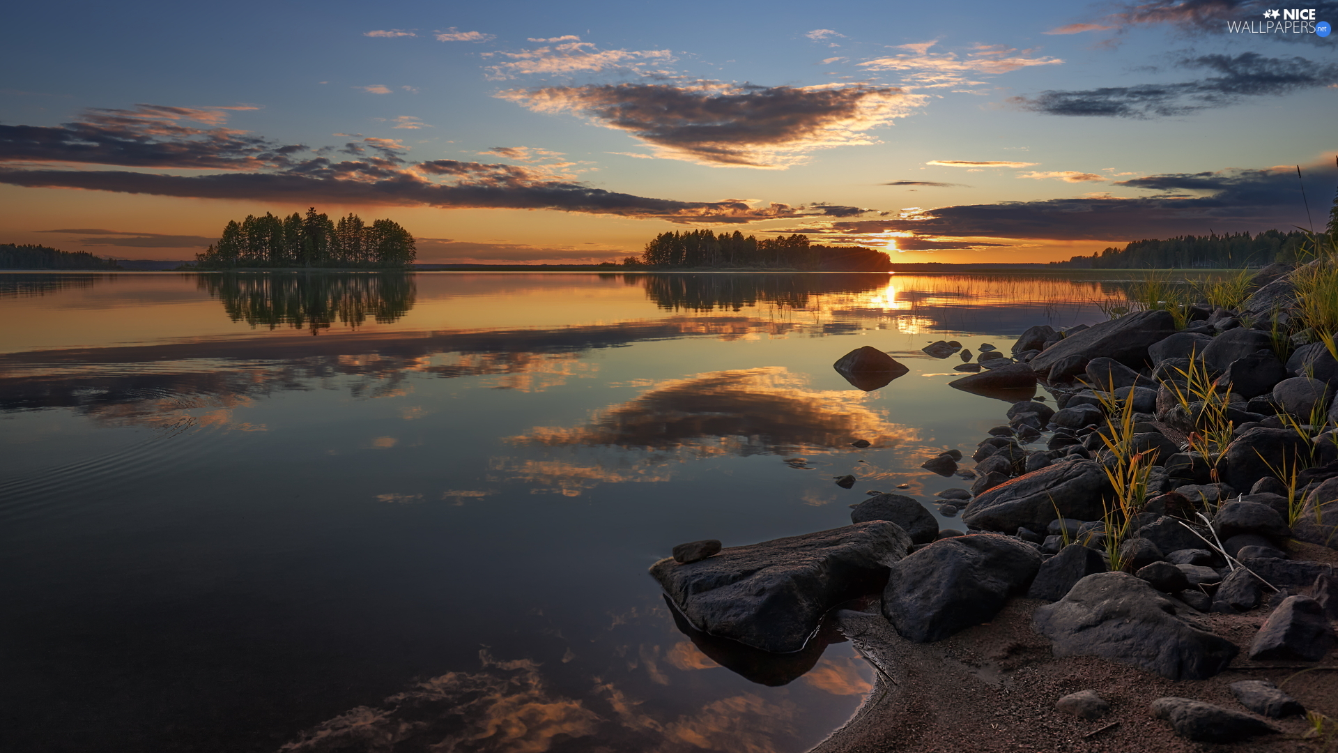 viewes, lake, Stones, Great Sunsets, coast, trees