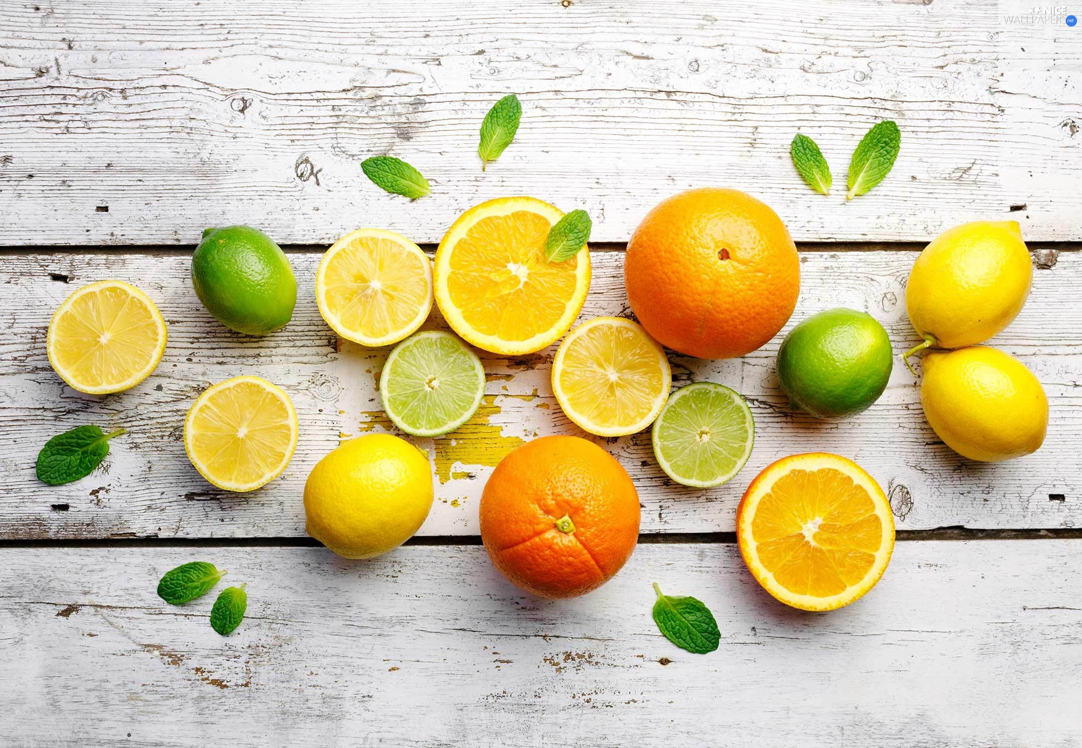 orange, lemons, boarding, limes, wood, citrus, Fruits, leaves