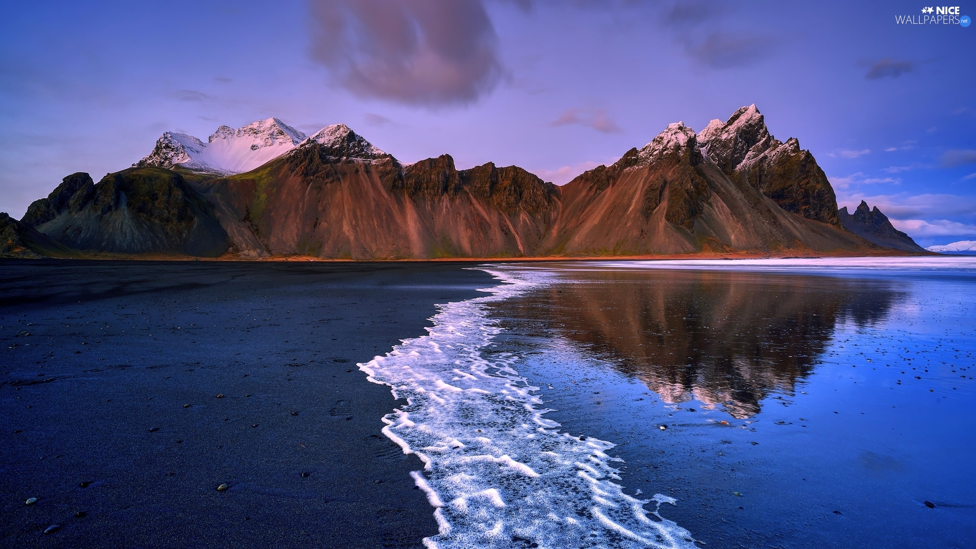 Stokksnes Beach, iceland, sea, coast, Mountains, Vestrahorn mountain