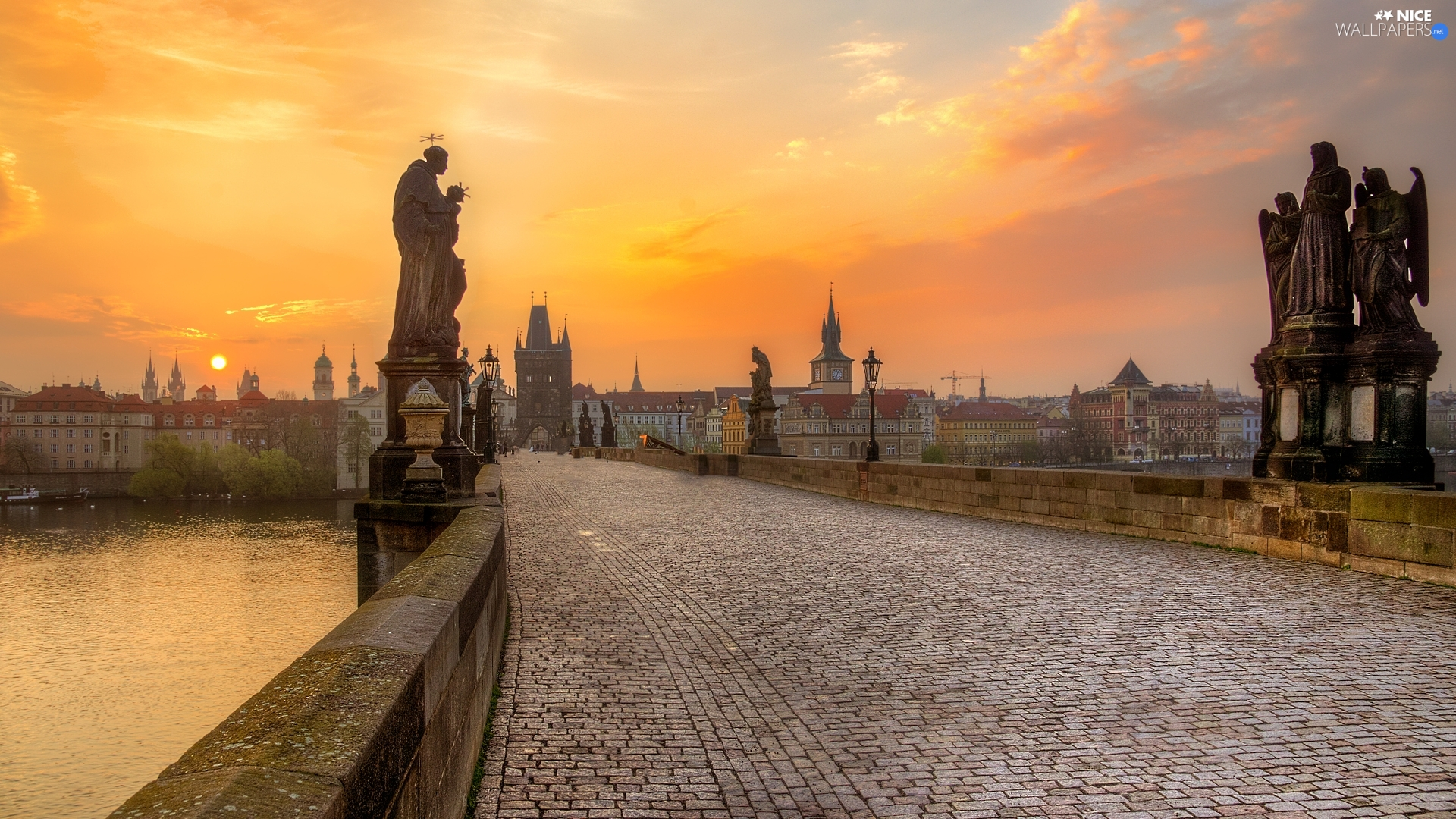 figure, Charles Bridge, Prague, Czech Republic, Sunrise, statues