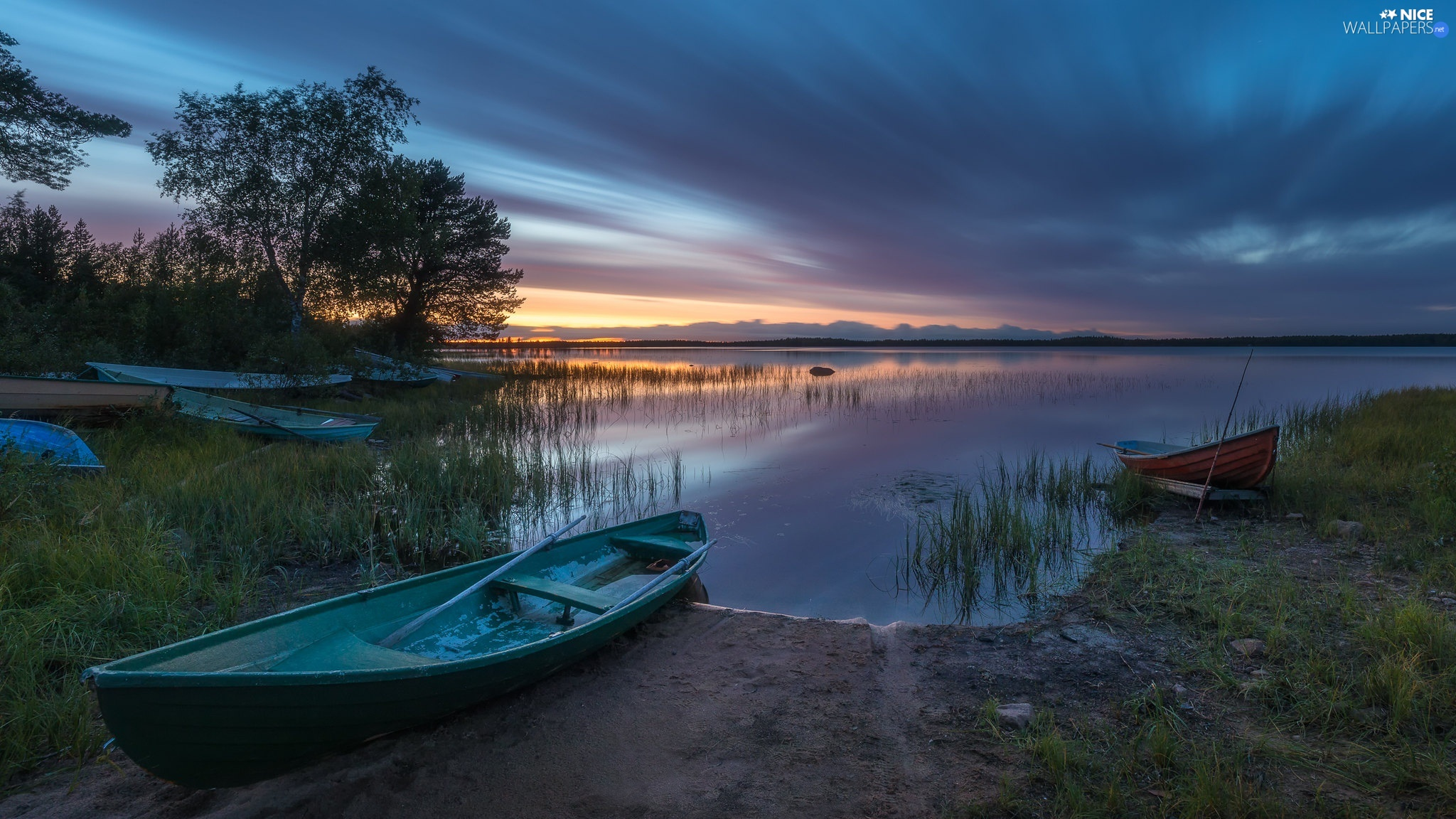 lake, Great Sunsets, trees, viewes, boats, clouds