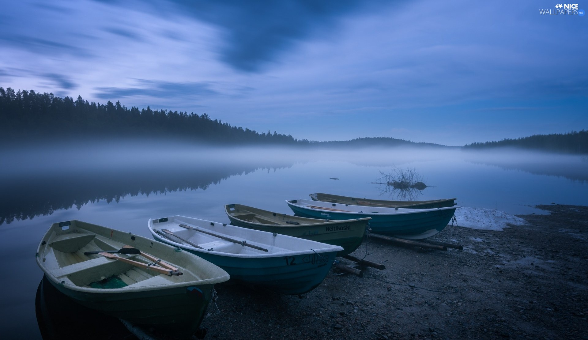 trees, viewes, lake, Fog, boats