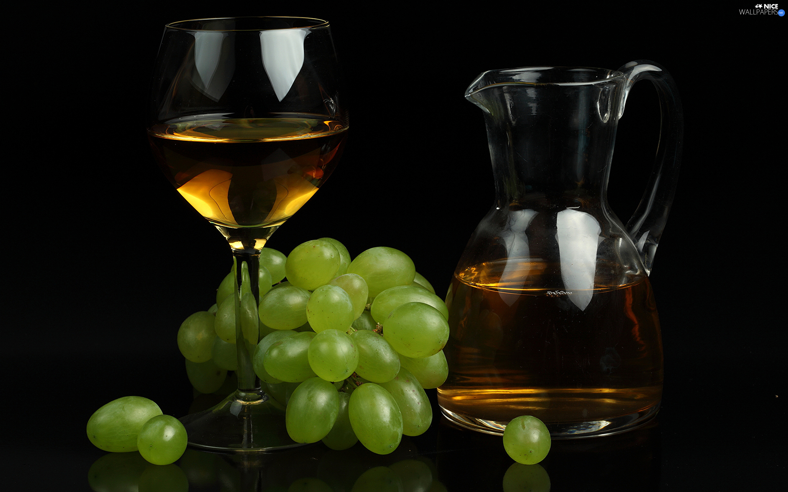 jug, Wine, Grapes, glass, bone
