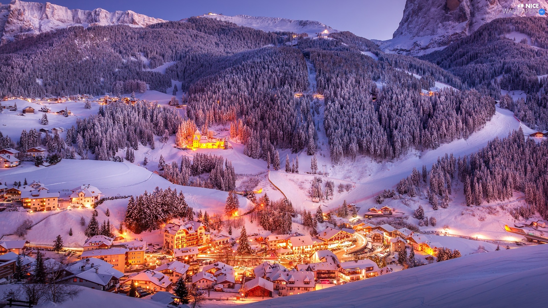 woods, Mountains, Valley, Town, light, winter, trees, viewes, Houses