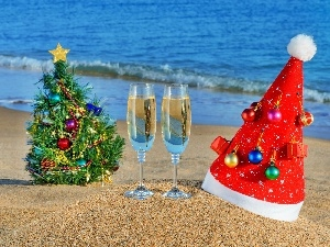 beach, an, Champagne, New Year