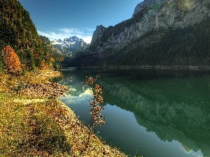 autumn, Mountains, River