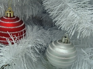 White, Christmas, baubles, Twigs