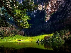forest, Mountains, Bavaria, Germany, lake, waterfall