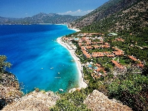 Beaches, sea, Town, Oludeniz, Turkey