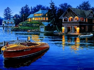 Boat, evening, by, lake, Houses