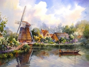 Boat, Houses, Windmill, River, picture