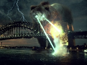 glowing, large, bridge, lightning, Eyes, Bear