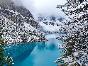 Lake, Canada, Mountains, Fog, forest, Moraine, lake, winter