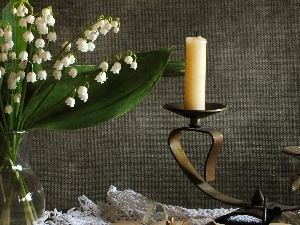 candlestick, lilies, candle