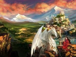 Mountains, Women, Castle, Dragon