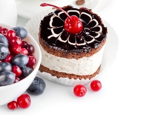 cherries, cake, blueberries