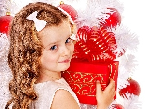 small, Present, christmas tree, girl
