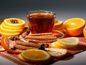 Lemon, cup, cinnamon, carambola, orange, tea