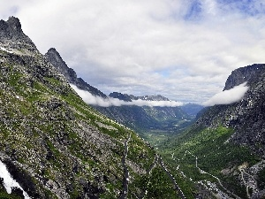Norway, Mountains, clouds, Way