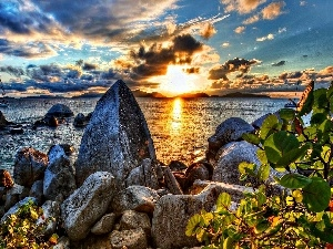 Great Sunsets, sea, clouds, rocks