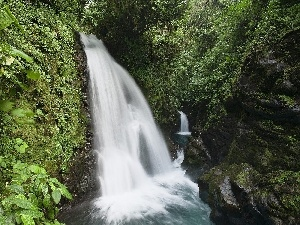 waterfall, green, Costa Rica, rocks