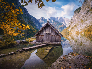 viewes, trees, Wooden, Obersee Lake, house, cottage, Alps Mountains, Germany, autumn, Stones, Berchtesgaden National Park, Bavaria