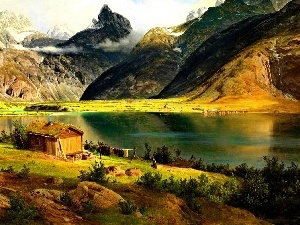Cottage, Mountains, lake