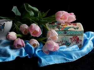 cup, textile, Tulips, Box, Pink