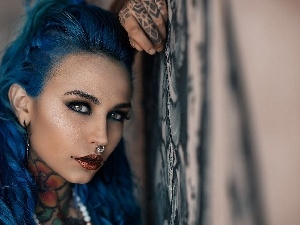 ear-ring, tattoos, Blue, Hair, Women
