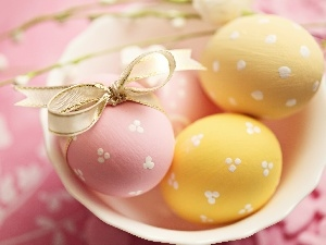 Easter, color, eggs, plate