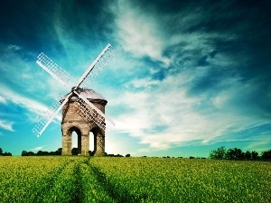 Field, Windmill, clouds