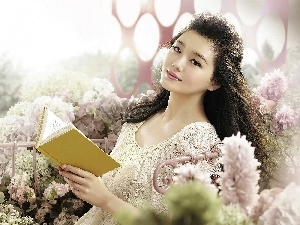 Flowers, girl, Book