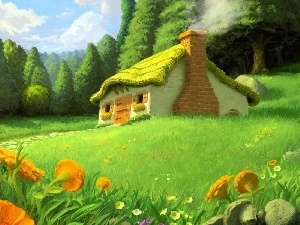 Flowers, graphics, thatch, forest, cottage