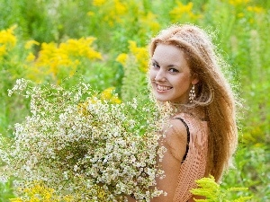 smiling, Meadow, Flowers, Blonde