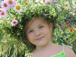 Flowers, girl, wreath