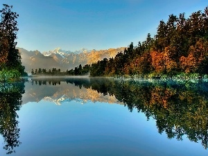 Fog, autumn, woods, Mountains, lake