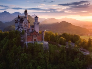 Germany, Neuschwanstein Castle, clouds, Alps Mountains, woods, Fog, viewes, Bavaria, Schwangau Commune, trees, Great Sunsets