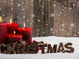 snow, Candles, Christmas, cones, Red, decoration, Christmas