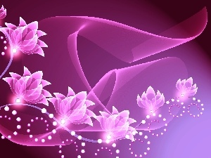 Pink, Flowers, graphics, highlighted