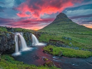 Mountains, waterfall, bridges, iceland, Great Sunsets, River