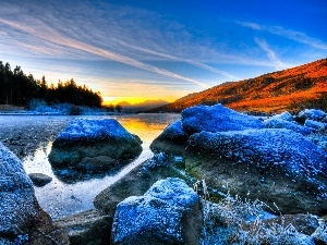 winter, Stones, Great Sunsets, River