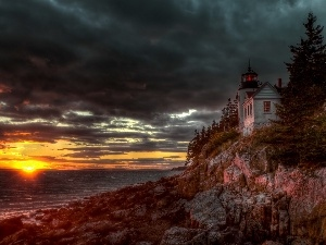 clouds, Lighthouses, bass harbor, Maine, Great Sunsets, sea