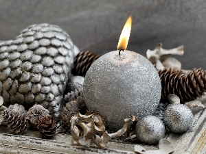 Heart, cones, Christmas, candle, decoration